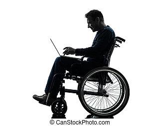 silhouette, rechnen, laptop, eins, behindertes, edv, studio, hintergrund, weißes, mann