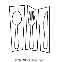 silhouette rectangle banner frame separated with cutlery kitchen elements