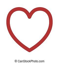 silhouette red heart design icon