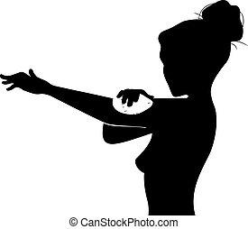silhouette, reiben, onsen, abbildung, badetuch, m�dchen