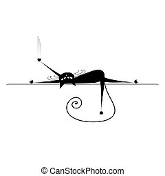 silhouette, relax., katz, schwarz, design, dein