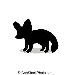 silhouette, renard, noir, fennec, animal