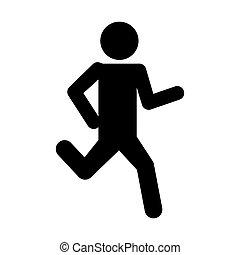 silhouette, rennende , karakter, man