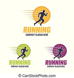 silhouette, rennende , vector, logo, cirkel, man