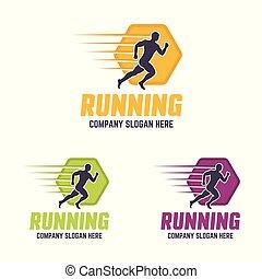 silhouette, rennende , vector, logo, kleurrijke, man