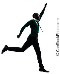 silhouette, rennender , schwarz, afrikanisch, glücklich, mann