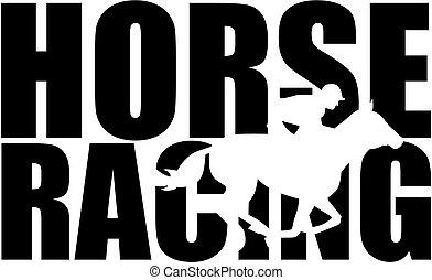 silhouette, rennsport, pferd, wort, freisteller