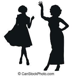 silhouette, retro, donne