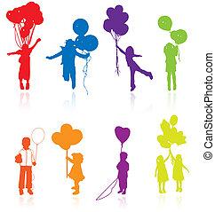 silhouette, riflettere, colorato