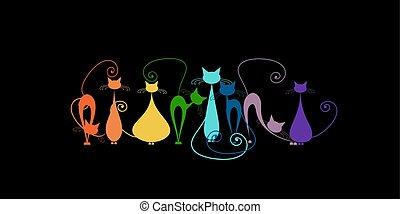 silhouette, rigolote, famille, noir, chats