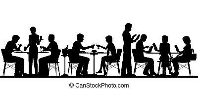 silhouette, ristorante