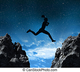 silhouette, rocher, trouée, sauter, par, entre, girl