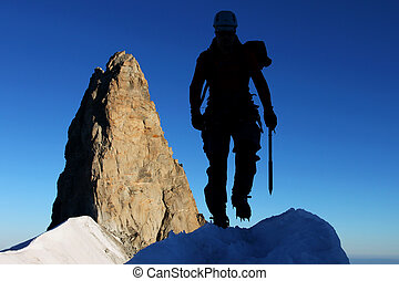 silhouette, rocheux, fond, pinacle, alpiniste