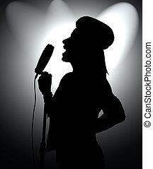 silhouette rock girl