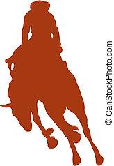 silhouette, rodeo, arte, cavaliere, segno