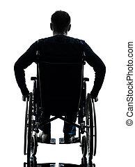 silhouette, rollstuhl, behindertes, ansicht, rückseite, mann