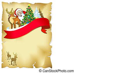 silhouette, romantique, cadre, renne, neige, santa, joyeux noël