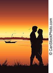 silhouette, romantisch paar, jonge, achtergrond., ondergaande zon