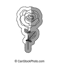 silhouette rose with petals and leaves icon