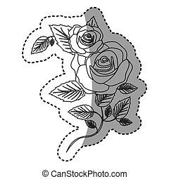 silhouette roses with squere petals and leaves icon, vector ...