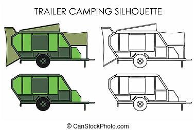 silhouette, roulotte, campeggio