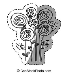 silhouette round roses with leaves icon
