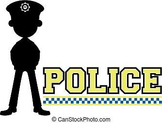 silhouette, royaume-uni, policier