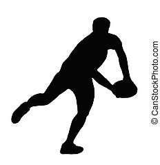 silhouette, rugby, -, joueur, courant, passe, confection,...