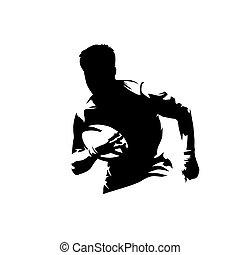 silhouette, rugby, rennende , inkt, vrijstaand, vector, tekening, speler, bal