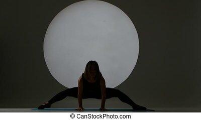 silhouette, séance, athlète, light., dos, position., pentes, marques