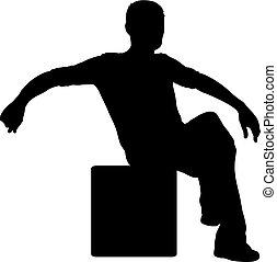 silhouette, séance, fond, chaise, blanc, homme