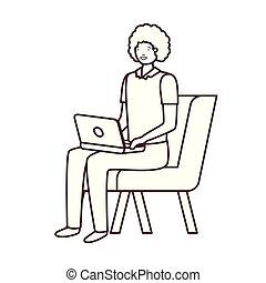 silhouette, séance, ordinateur portable, fond, blanc, chaise, homme