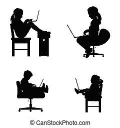 silhouette, séance, ordinateur portable, illustration, chaise, enfants