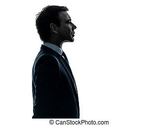 silhouette, sérieux, profil, homme, portrait, business