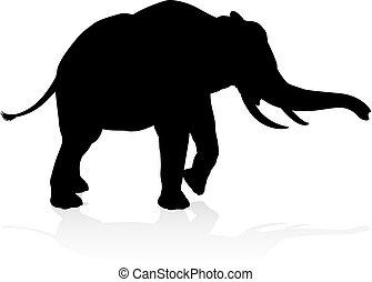 silhouette, safari, animal, éléphant