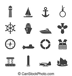 Silhouette Sailing and Sea Icons