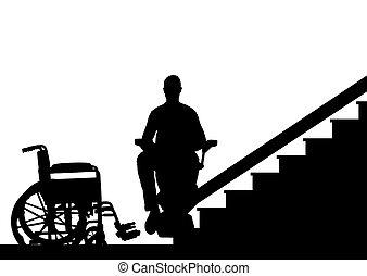 silhouette, salite, ascensore, invalido, persona, vettore, scale