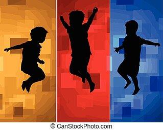 silhouette, saltare, bambini