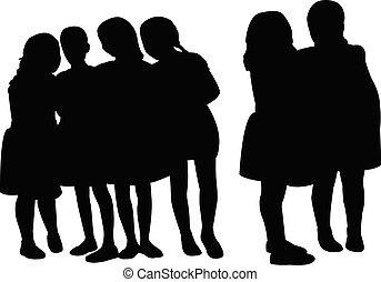 silhouette, samen, meiden, vector