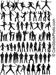 silhouette, -, sammlung, leute
