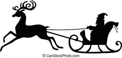 Silhouette Santa Claus riding on a deer sleigh