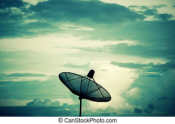 Silhouette Satellite dish. Communication technology network concept.