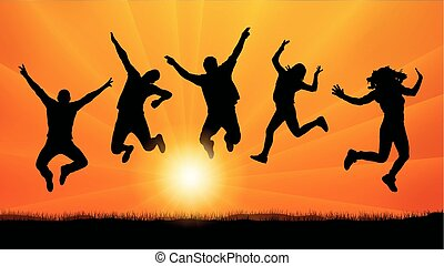 silhouette, sauter personnes, vecteur, amis, coucher soleil