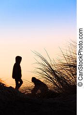 silhouette, scène plage
