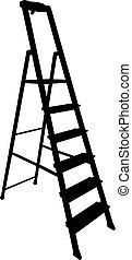 silhouette, scala, attrezzo, sfondo nero, bianco