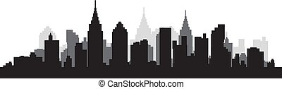 silhouette, scape, ville