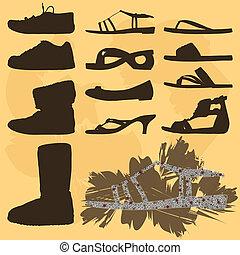 silhouette, -, scarpe, collezione