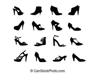 silhouette, scarpe, tallone, donne