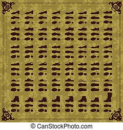 silhouette, scarpe, vendemmia, collezione, uomo, donne