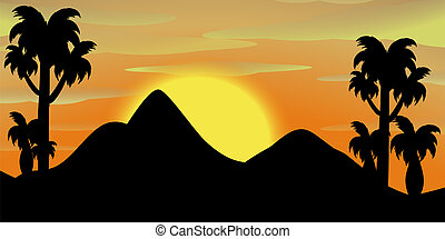 Silhouette scene of mountains at sunset